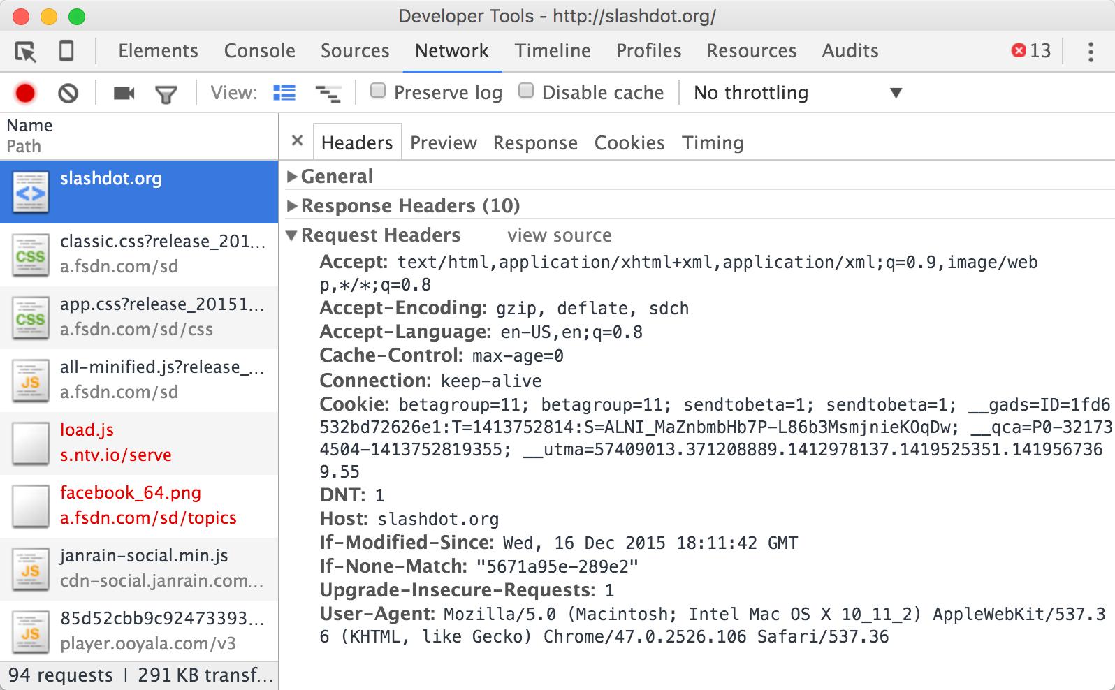 Chrome Developer Tools Network Inspector